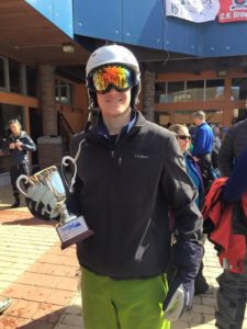 Brother Zachau skied for the WinterKids Downhill (Maine Orono 20160410)