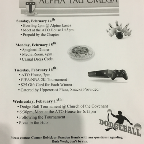 Rush Week Flyer of Events (Washington & Jefferson 20160212)